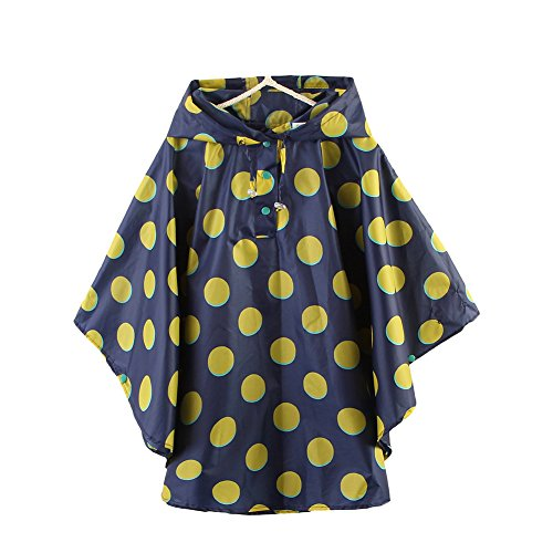 Kinder Mädchen Punkt Regenjacke Regencape - LOSORN ZPY Baby Wasserdicht Regenmantel mit Kapuze (S (80-100cm), Blau)