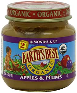 Earth's Best Organic Baby Food, Apple & Plums, 4 Ounce (Pack of 12)