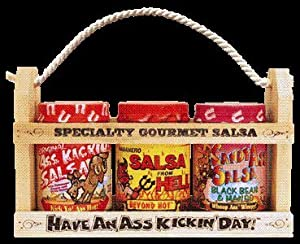 Ass Kickin Salsa Gift Set - In A Wooden Crate What A Great Gift Idea One 13 Ounce Ass Kickin Original Salsa One 13 Ounce Salsa From Hell And One 13 Ounce Candy Ass Black Bean Mango Salsa Give This Gift To Your Favorite Salsa Lover And Leave A Lasting Impr