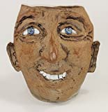 Aunt Chris' Pottery - Hand Made Clay - Primitive Style - Brian Face Vase - Rustic Stone Finish