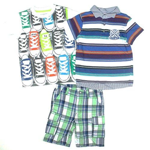 Kids Headquarters Boys 3-Piece Tee/Polo/Shorts Set 4 Toddler Blue Stripe front-853994
