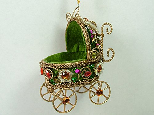 Green Victorian Rhinestone Jeweled Baby Carriage Baby Shower Christmas Ornament front-558342