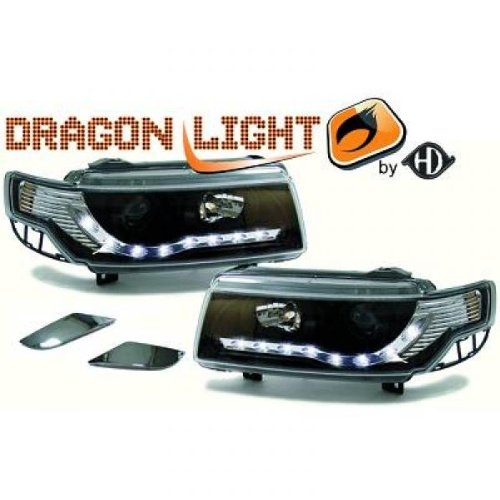 phares à LED diurnes, Dragon Lights, noir PASSAT, de 1993 à 1996 noir DRAGON LIGHTS pour réglage électrique H1+H1
