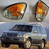 FidgetKute 2X for Lexus LX470 1998-07 Front Bumper Turn Signals Lights Corner Lamp No Bulb