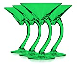 Libbey Emerald Green Curved Stem Martini Glasses 6.75 oz. set of 4 - Additional Vibrant Colors Available by TableTop King