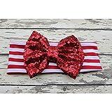 Cinta ajustable de algodón, gran lazo y lentejuelas, diseño de rayas, color rojo