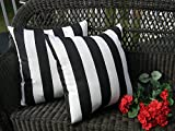 "Set of 2 ~ 20"" Black and White Stripe Decorative Square Throw Toss Pillows ~ Indoor Outdoor Fabric"