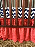 Coral Ruffle Crib Skirt Nursery Baby Bed Bedding, Pink Shabby Chic Bed Skirt