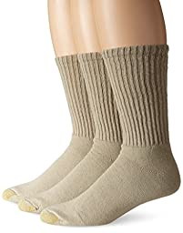 Gold Toe Men\'s Casual Crew 3 Pack Socks, Putty, One Size