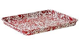Enamelware Jelly Roll Tray - Red Marble