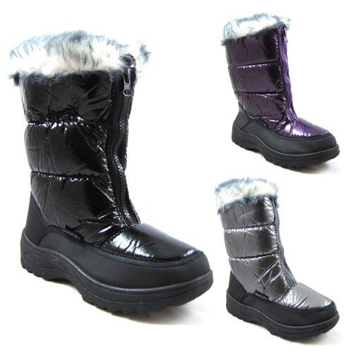 New Ladies Womens Snow Winter Mucker Boot UK 3-8, Fur Lined Zip Boots