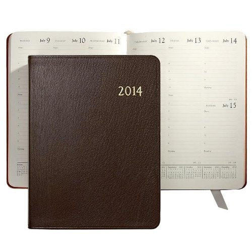 "2014 Brights MOCHA fine Leather 9"" Desk Diary by Graphic Image – 7×9"