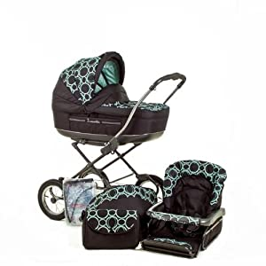 Roan Marita Classic Pram Stroller 2-in-1 with Bassinet and Seat (Black-green Color)