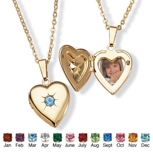 PalmBeach Jewelry Goldtone Birthstones Simulated Heart Locket- March- Simulated Aquamarine