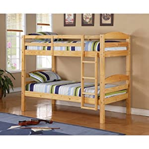WE Furniture Twin / Twin Solid Wood Bunk Bed - Cherry