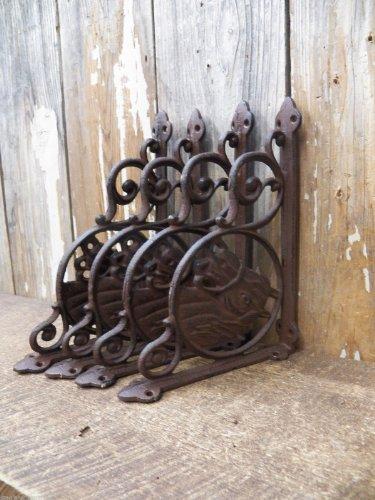 "Lot/Set 4 Antique-Style Cast Iron Horse 6"" X 9"" Shelf Brackets Hangers Cowboy Western front-60508"