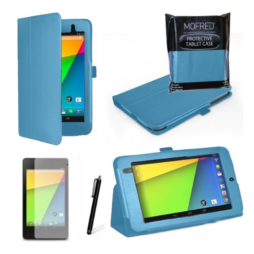 MOFRED® Light Blue New Google Nexus 7 2 II Tablet (Launched July 2013) Case-MOFRED® Executive Multi Function Standby Case with Built-in Magnet for Sleep / Wake feature for the Google Nexus 7 II-2nd Generation Tablet 16GB or 32GB ,Qualcomm Snapdragon S4 1.