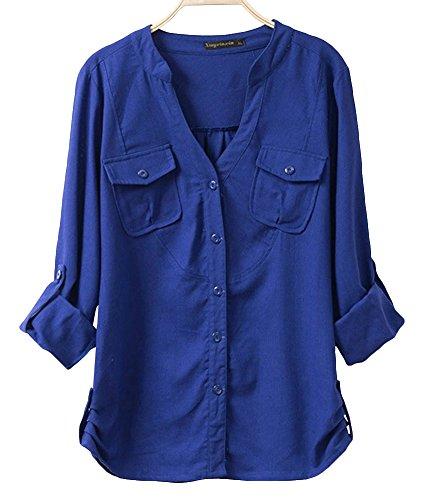 Nuoyan Women'S Cotton Plain Pure Color Long Sleeve Casual Blouse3Xl Dark Blue