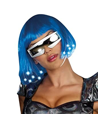 Dreamgirl Light Up Blue Wig Costume Accessory, Blue, One Size