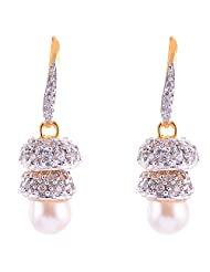 Baba Pearls Gold & Silver Plated 2 Step Jhumki With Drop