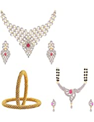 Zeneme AD American Diamond Necklace, Mangalsutra And Bangle Combo Set -3 For Women