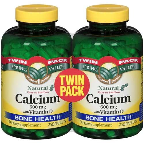 Spring Valley - Calcium 600 mg with Vitamin D 600 mg, Twin Pack, 500 Coated Tablets