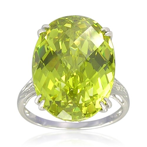 Sterling Silver Oval-Shaped 13x18mm Created Peridot Ring, Size 7