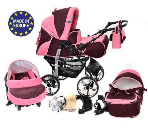 3-in-1 Travel System with Baby Pram, Car Seat, Pushchair & Accessories, Dark Red & Pink