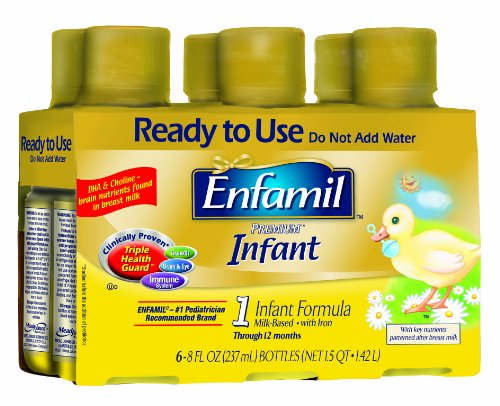 Enfamil Premium Infant Formula, Milked Based With Iron, Ready-To-Use Liquid, 8 Ounce (Pack of 24)