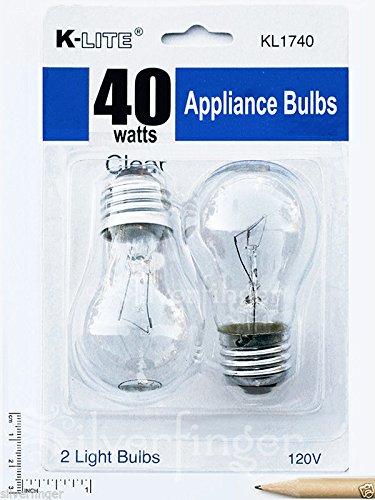 2-Pk Appliance Light Bulb Refrigerator Freezer Oven Microwave Fridge Fan A15 40W (Freezer Bulb 40 Watt compare prices)