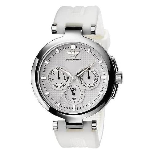 Emporio Armani Women's AR0736 White Rubber Quartz Watch with White Dial