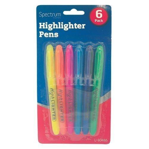 guilty-gadgets-ar-6-fluorescent-highlighter-marker-pens-stationery-school-equipment-purple-blue-pink