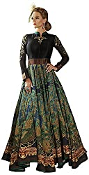PANCH JANYA Women's Art Silk Unstitched Dress Material (Black and Blue)
