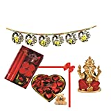 Skylofts 9pc Heart Shaped Chocolate Box With A Cute Teddy, A Candle Diya Set & A Bandanwaar, Ganeshji Idol Diwali...