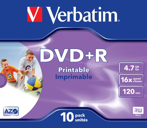 Verbatim Dvd+r 4.7GB Printable - Confezione da 10