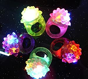 Liroyal 12 Pcs Strawberry Shape Flashing Led Ring Luminous Finger Lamp