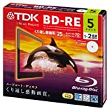 TDK Blu-ray BD-RE Re-writable Disk 25GB 2x Speed 5 Pack Blu-ray Disc Rewritable Format Ver. 2.1 (Japan Import)
