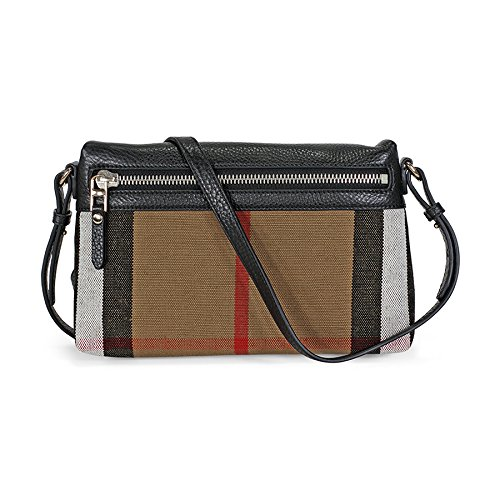 Burberry Small Canvas Check and Leather Clutch Bag (black)