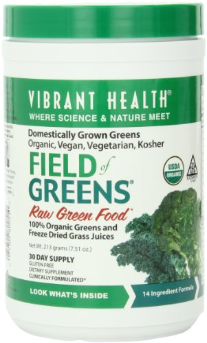 Vibrant Health Field Of Greens, Raw Food, Organic, 213-Grams, 7.51-Ounces