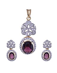 Nimbark Traders Brass And Metal White & Purple Color Designer Pendent Set With Earrings For Women