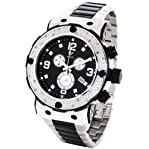 Mens Aqua Master Genuine Diamond Watch Stainless Steel Chronograph Black Face #W146-1