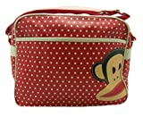 Paul Frank Monkey Face Holdall Messenger Shoulder Vintage Despatch Bag Back To School College Mini Spot Dots Red