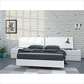 Nexera District 4 Piece Full Bedroom Set in White Lacquer and Melamine