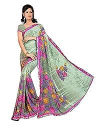 Madhavi Women Faux Georgette Lace Saree (Mvn144B _Grey _Free Size)