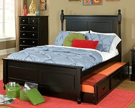 Morelle Captain's Twin Size Bed with Trundle in Black by Homelegance