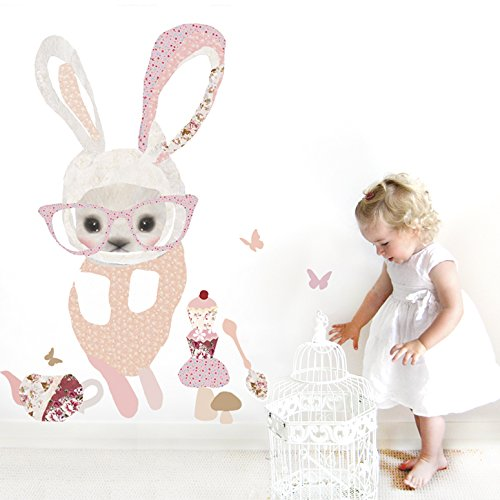 "Oopsy Daisy Bunny in Glasses Peel and Place, Pink, 54"" x 30"""