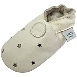 Dotty Fish Unisex Baby\'s Soft Leather Shoe with Suede Soles 0-6 months White Stars