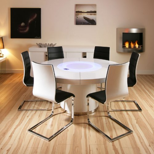 Round White Gloss Dining Table 6 White Black Dining Chairs Cheap