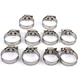 Generic 10Pcs Adjustable Fuel Petrol Pipe Hose Clips Stainless Spring Clamp 16-25mm