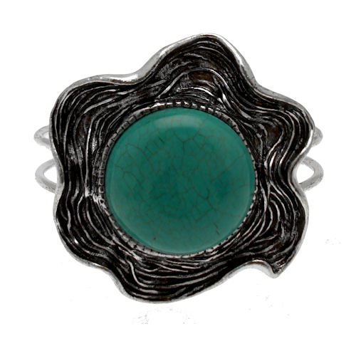 Acosta - Turquoise & Antique Silver Tone - Abstract Flower Ethnic Inspired Bangle / Bracelet - Costume Jewellery